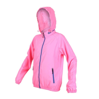 SOFO 女薄風衣外套-可收納 防風外套 連帽外套 慢跑 路跑 螢光粉
