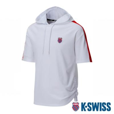 K-SWISS Loose Fit Hoodie短袖連帽上衣-女-白