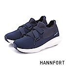 HANNFORT BUBBLES交叉尼龍織帶厚底跑鞋-女-深藍