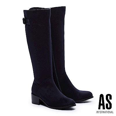 長靴 AS 極簡品味金屬方釦帶麂布粗跟長靴-藍