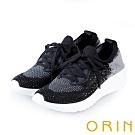 ORIN 潮流時尚風 飛織布面燙鑽綁帶休閒鞋-黑色