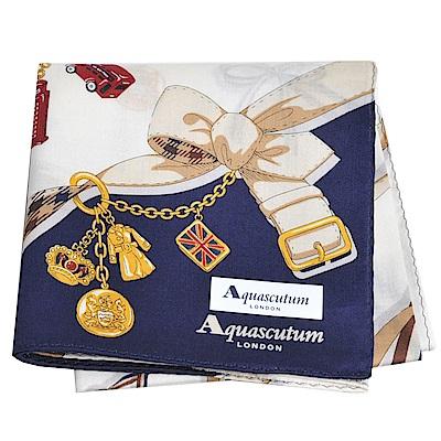 Aquascutum 品牌穿鍊吊飾圖騰字母LOGO帕領巾(百合白/深藍)