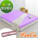 (贈環保餐具)LooCa 美國Microban抗菌12cm記憶床墊(紫)-雙人
