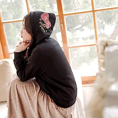 KITTY聖誕系列~純棉保暖長絨毛連帽蝴蝶結印圖外套-OB大尺碼