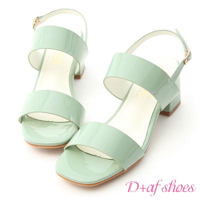 D+AF 微甜氣質.一字設計漆皮中跟涼鞋*綠