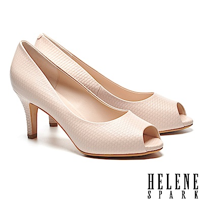高跟鞋 HELENE SPARK 質感菱格壓紋全真皮素面魚口高跟鞋-粉
