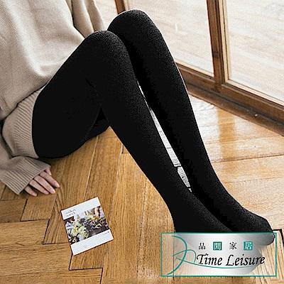 [限時特惠] Time Leisure 棉質不起球400丹秋冬保暖修身褲襪(連腳黑/2入)