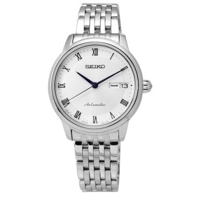 SEIKO 精工 PRESAGE 自動上鍊 藍寶石水晶 不鏽鋼機械手錶-銀白/34mm