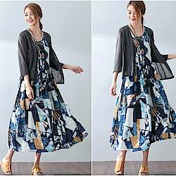 洋裝-抽象印花文藝棉麻/設計所在SQ16707