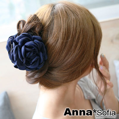 AnnaSofia 飄綣花瓣 純手工中型髮抓髮夾(深藍)