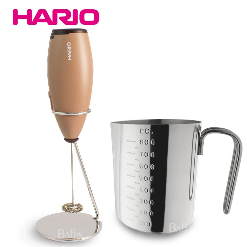 【HARIO】手持電動奶泡器及 Zebra 不鏽鋼量杯/拉花杯(800ml)