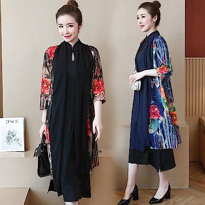 多彩印花罩衫素色改良旗袍兩件套裝M-3XL(共二色)-REKO
