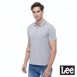 Lee 領口Logo 開襟短袖POLO衫 彈性 男款-灰色