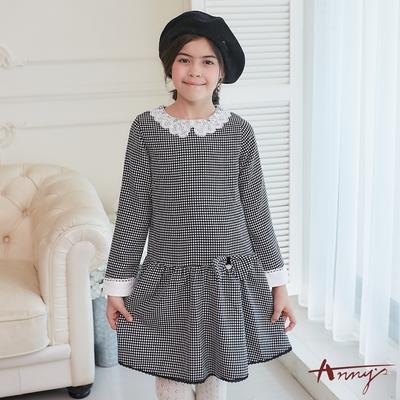 Annys安妮公主-經典黑白紋領口花邊蕾絲秋冬款長袖洋裝*8233黑色