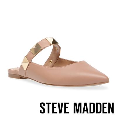 STEVE MADDEN-FRAMEWORK 鉚釘尖頭平底拖鞋-粉藕色