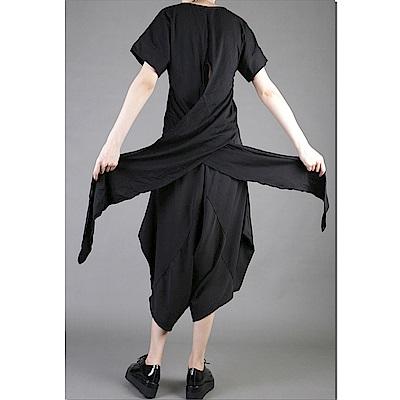 開叉T恤中長版圓領套頭黑色寬鬆顯瘦-設計所在 MP1565