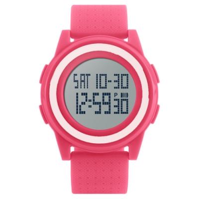 Mirabelle雙框炫色 LED鬧鐘防水矽膠手錶 粉帶白框45mm