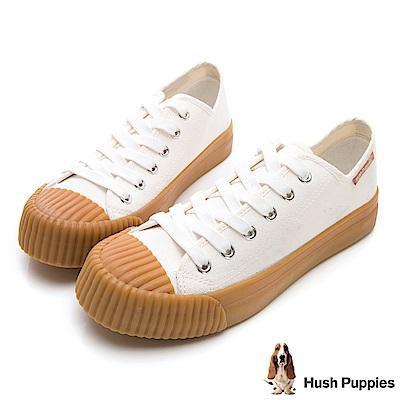 Hush Puppies 復古膠底餅乾鞋-米白