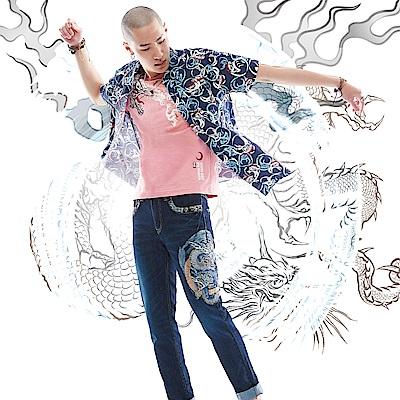 BIG TRAIN 達摩印花短袖襯衫-男-深藍