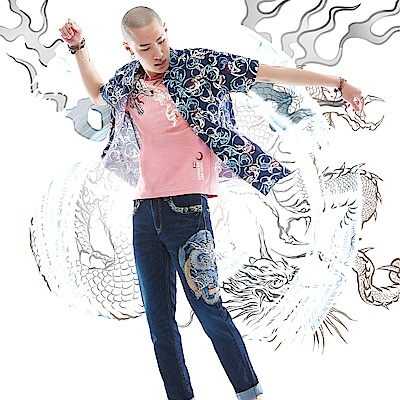 BIG TRAIN 加大達摩印花短袖襯衫-男-深藍
