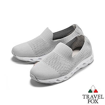 TRAVEL FOX(女)  襪套式針織鞋面魚腮大底運動休閒鞋 - 銀閃灰