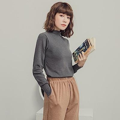 純色內磨毛小高領縮口袖上衣-OB大尺碼