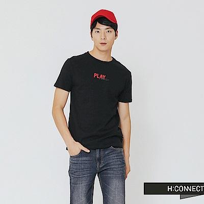 H:CONNECT 韓國品牌 男裝-Play配色圓領T-shirt-黑