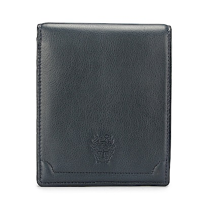 DAKS經典家徽壓紋軟皮革零錢袋短夾-藍灰色