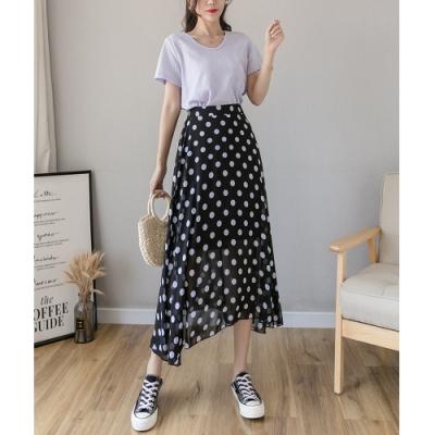 2F韓衣-簡約波點舒適內襯造型雪紡裙-2色-(F)