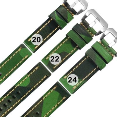 Watchband / 各品牌通用 經典復刻 柔軟 加厚款 真皮錶帶-迷彩綠