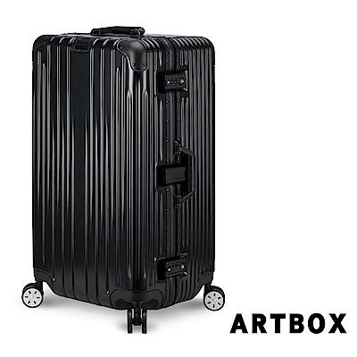 ARTBOX愛戀迷情29吋創新線條胖胖運動款鋁框行李箱黑色