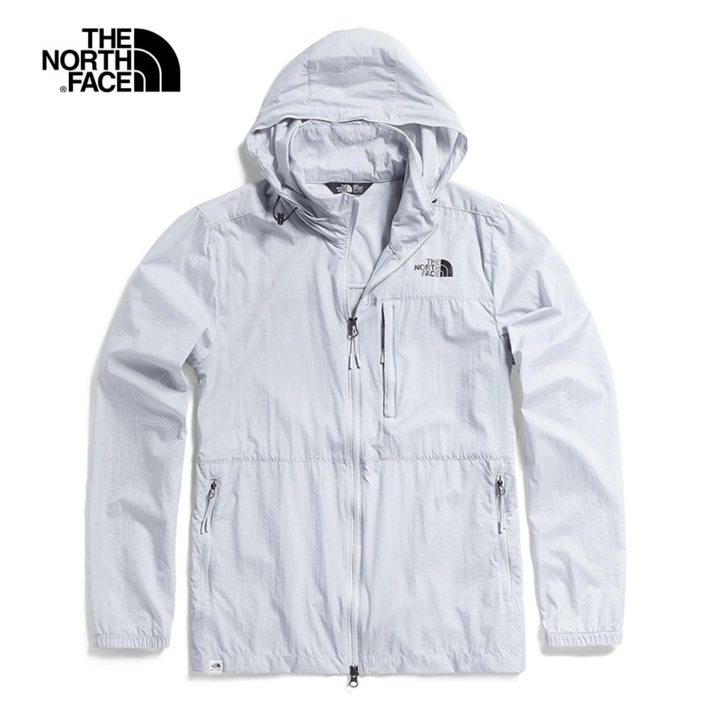 The North Face北面男款灰白色可收納式風衣外套|3V4GA0M