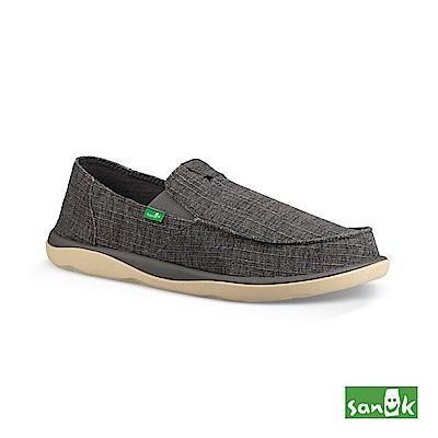 SANUK 竹節紋帆布休閒鞋-男款(深灰色)