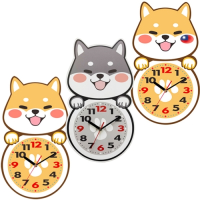微笑柴犬 可愛靜音掛鐘