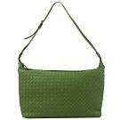 BOTTEGA VENETA經典編織拉鍊大肩包(淺綠)