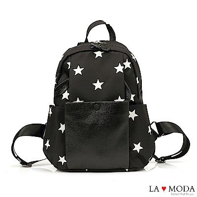 La Moda 通勤旅遊最佳首選進口防潑水大容量後背包(星星)