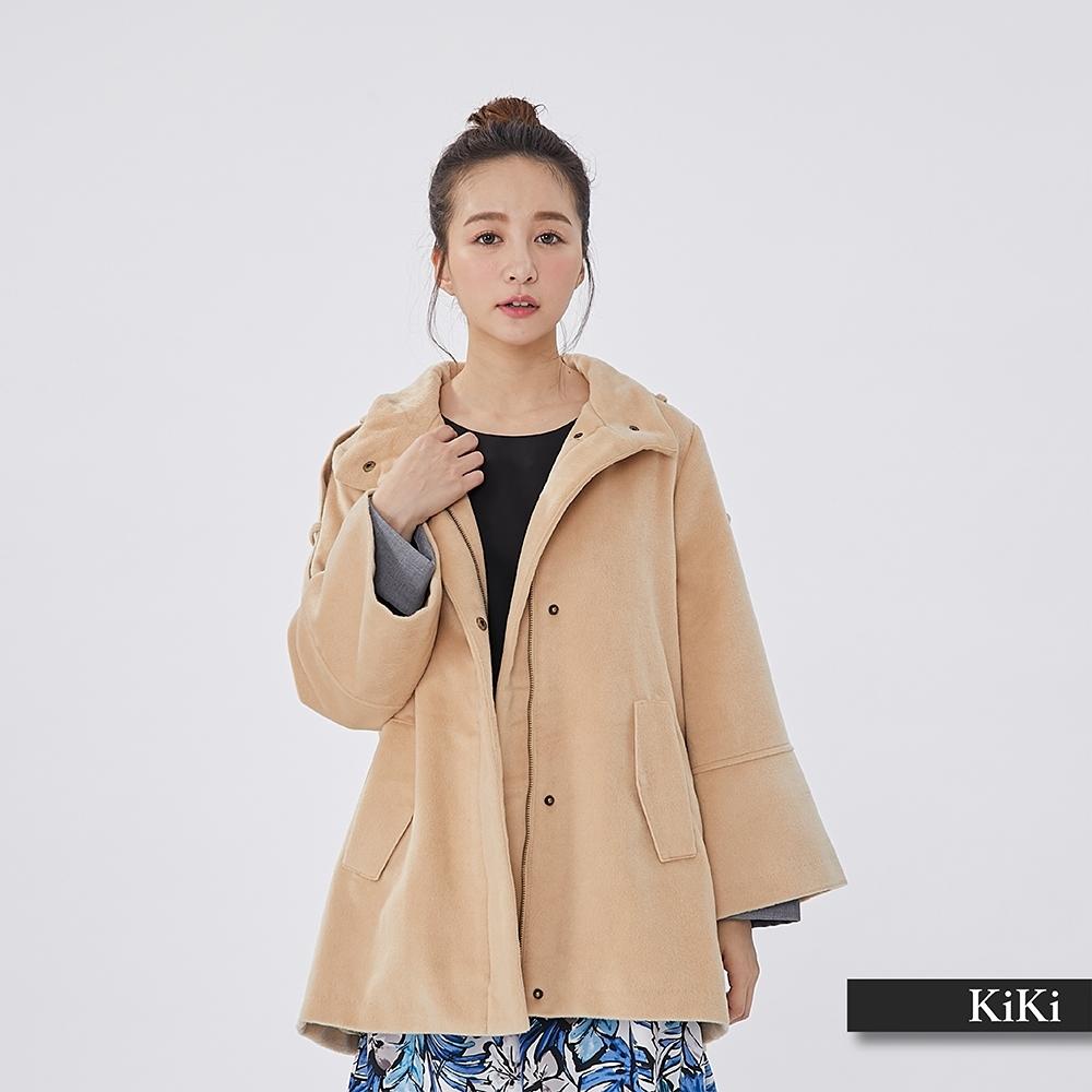 【KiKi】冬季首推毛呢立領-大衣外套(二色)