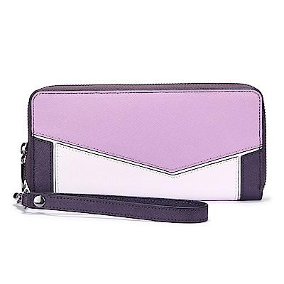 botkier Cobble Hill 拼接撞色防刮皮革拉鍊手拿包長夾-粉紫/深紫色