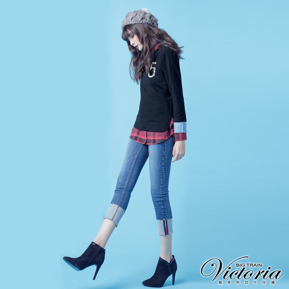 Victoria 中腰燙鑽織帶反摺小直-女-中藍