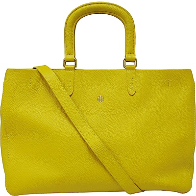 OBBI LAI 黃色荔枝紋牛皮拖特包手提肩背(展示品)