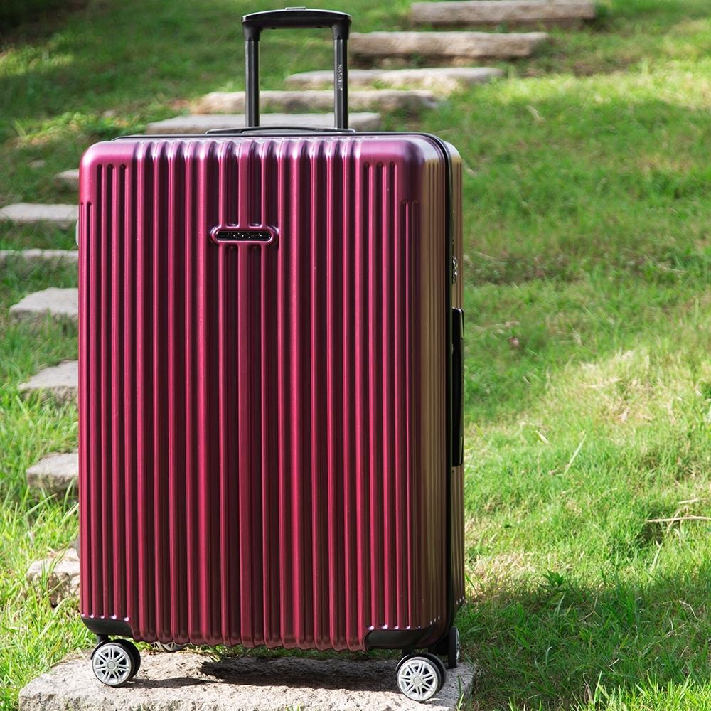 【NaSaDen 納莎登】新無憂髮絲紋防刮系列TSA海關鎖29吋拉鍊行李箱(伯根紅)