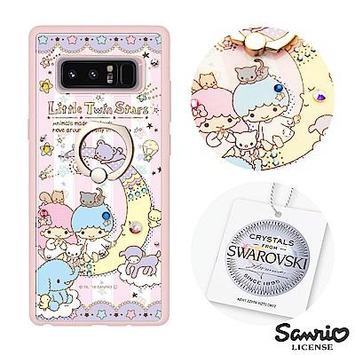 三麗鷗 Samsung Note8 施華彩鑽減震指環扣手機殼-晚安雙子星