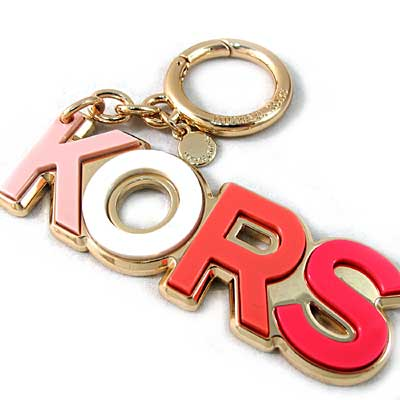 MICHAEL KORS Charms Resin品牌字母鎖圈吊飾(粉色、含禮盒)