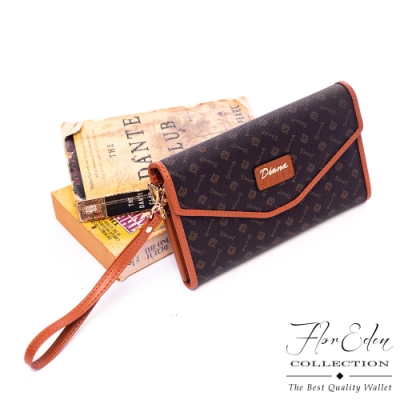 Flor Eden - 真皮品牌印花多隔層長夾式手拿斜背包