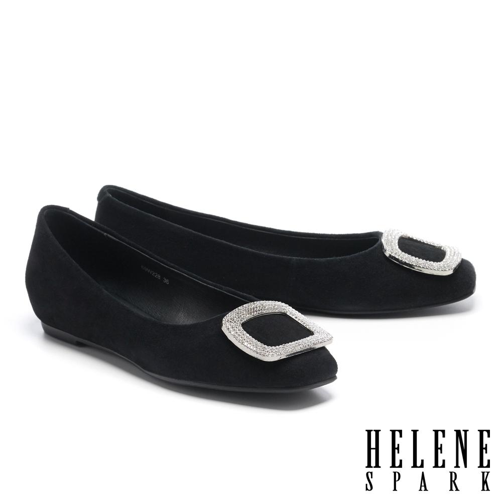 低跟鞋 HELENE SPARK 高雅時尚方型鑽飾全真皮方頭低跟鞋-黑