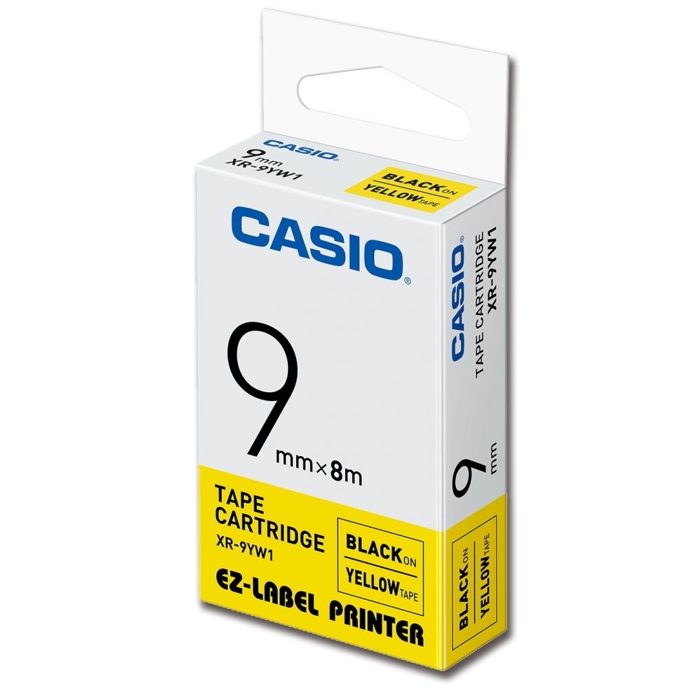 CASIO 標籤機專用色帶-9mm【共有9色】黃底黑字-XR-9YW1
