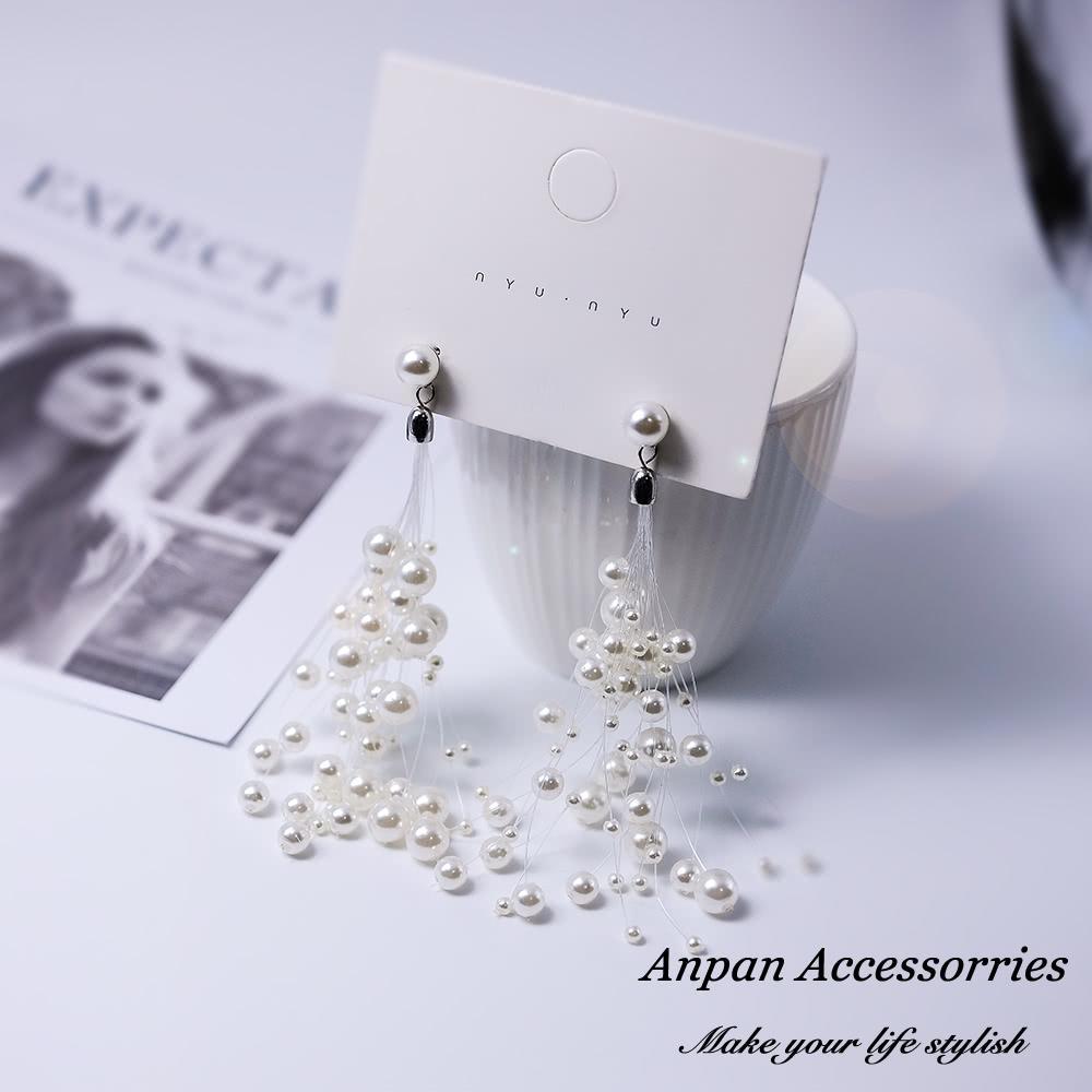 【Anpan 愛扮】韓東大門珍珠滿天星流蘇925銀針耳釘式耳環