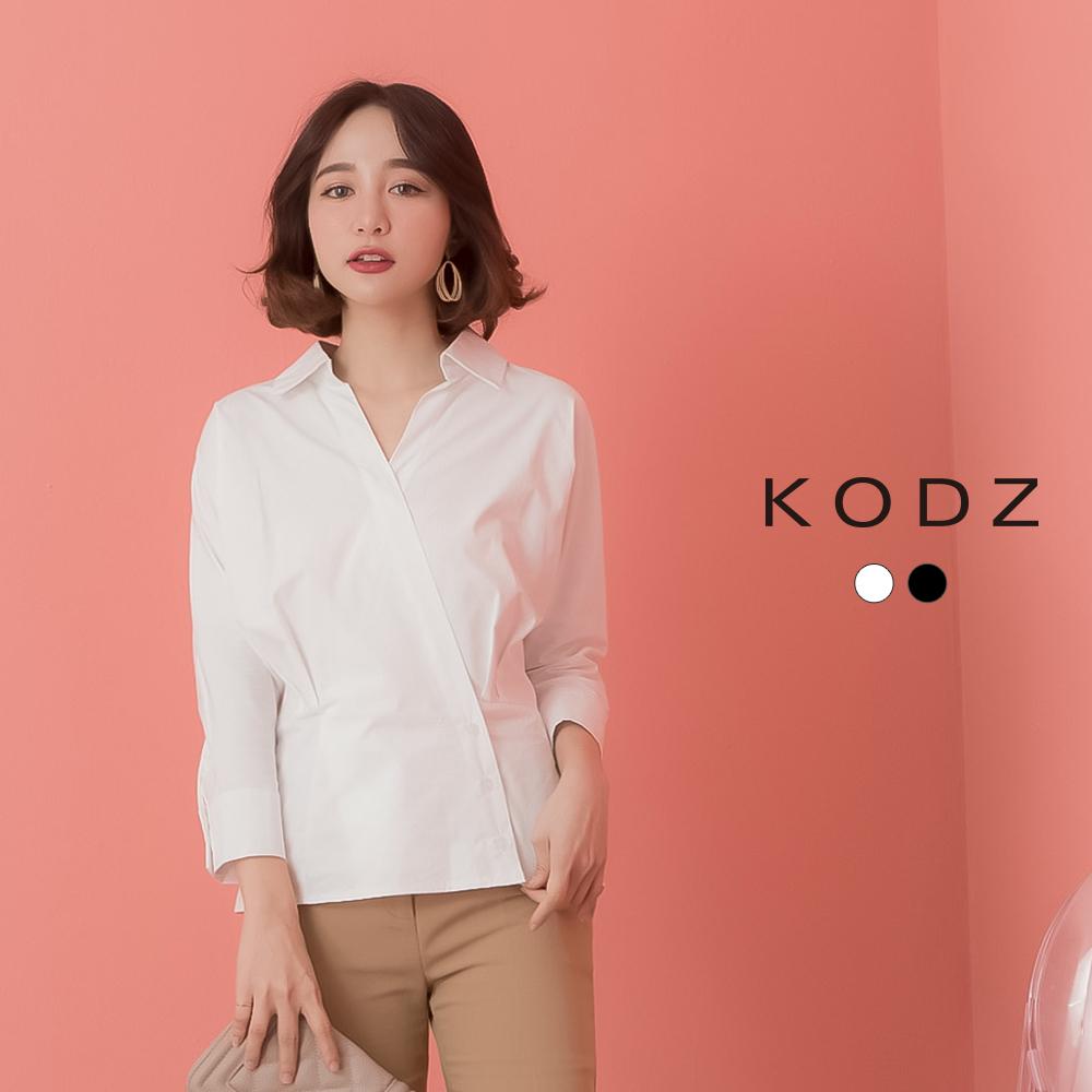 東京著衣-KODZ  氣質時尚斜排釦腰抓皺設計襯衫-S.M.L(共兩色)