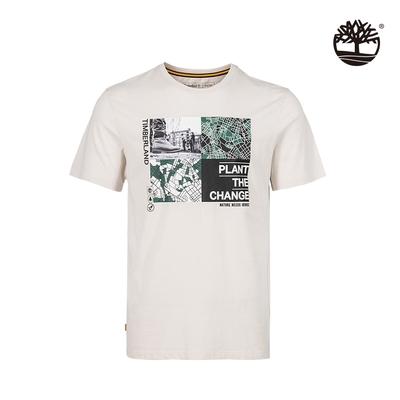 Timberland 男款白沙色NATURE NEEDS HEROES圖案有機棉短袖T恤 A4362BH7
