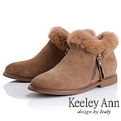 Keeley Ann 俏皮甜心~絨毛滾邊側拉鍊短靴(駱駝色-Ann)